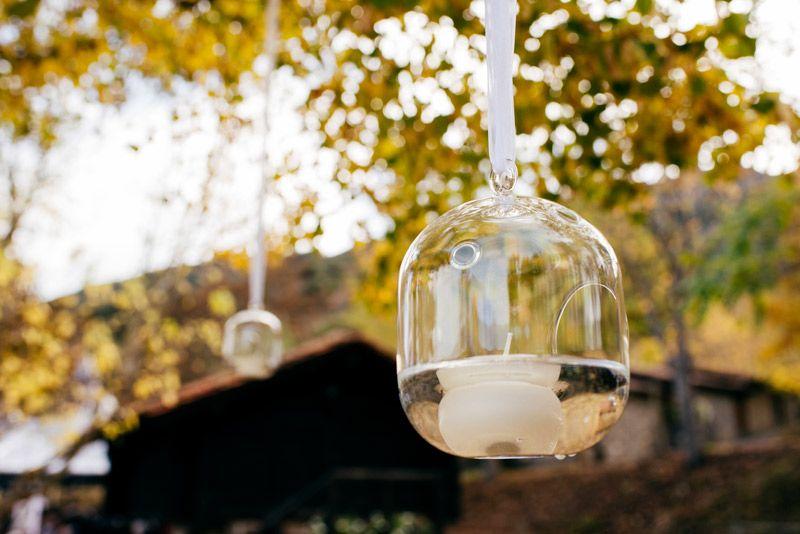 Esferas de cristal colgando del árbol