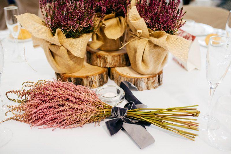 Ramillete decorando una mesa