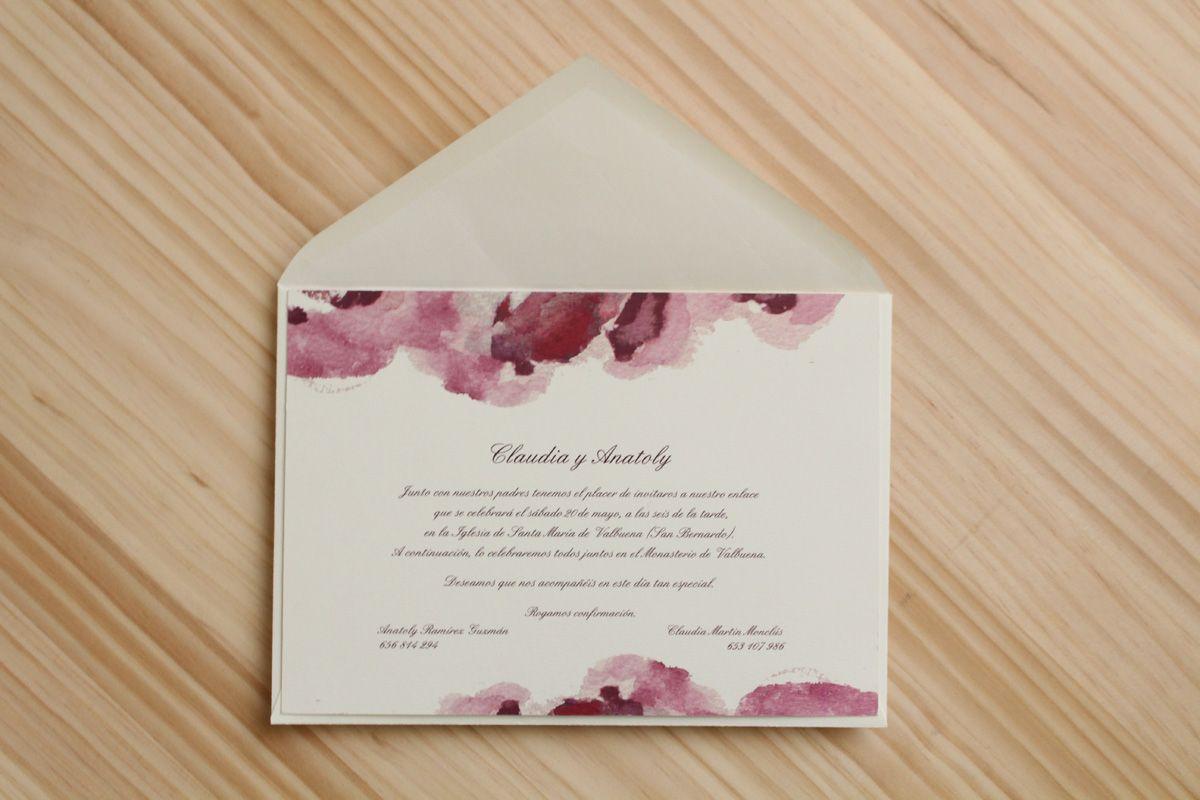 "Invitación de boda ""Acuarela rosa"""