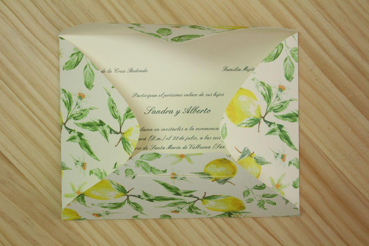 """Invitación-sobre de boda """"Limones"""""""