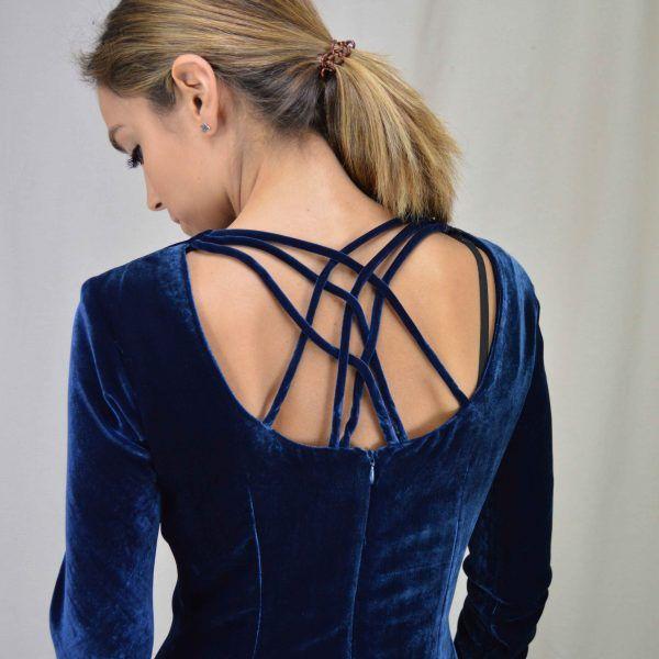 Vestido de terciopelo azul Cherubina