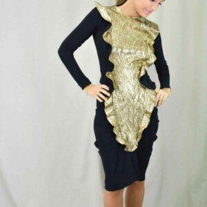 Vestido negro y dorado Cherubina