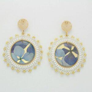 Pendientes hortensias azules