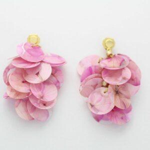 Pendientes hortensias preservadas rosas