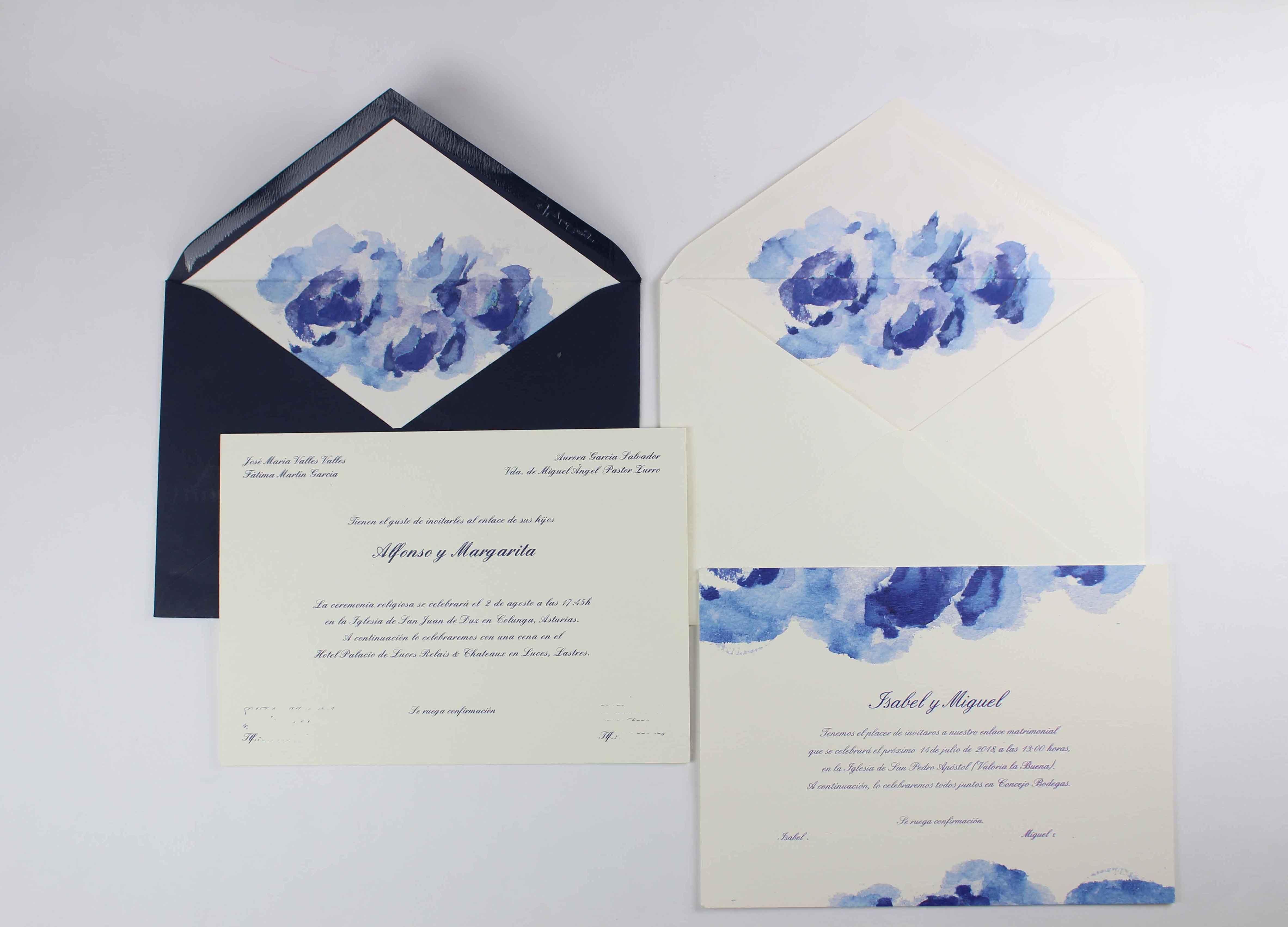 """Invitación de boda """"Acuarela azul"""""""