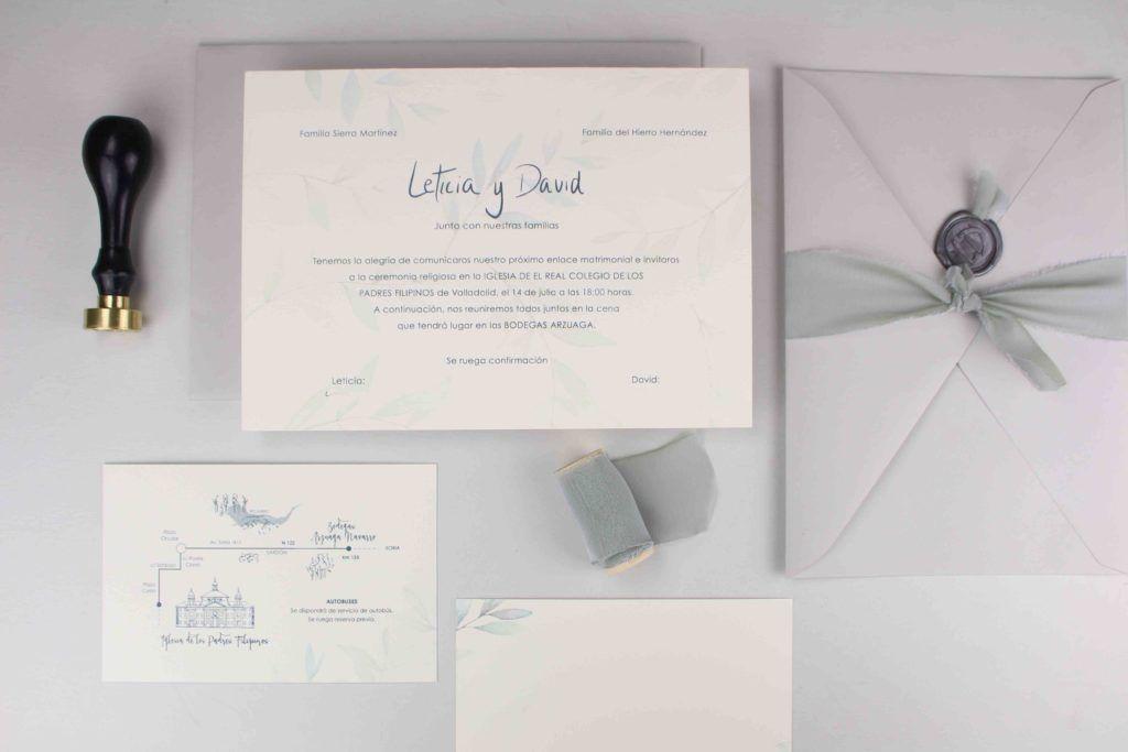 Invitaciones de boda personalizadas: la papelería de la boda de Leticia y David.