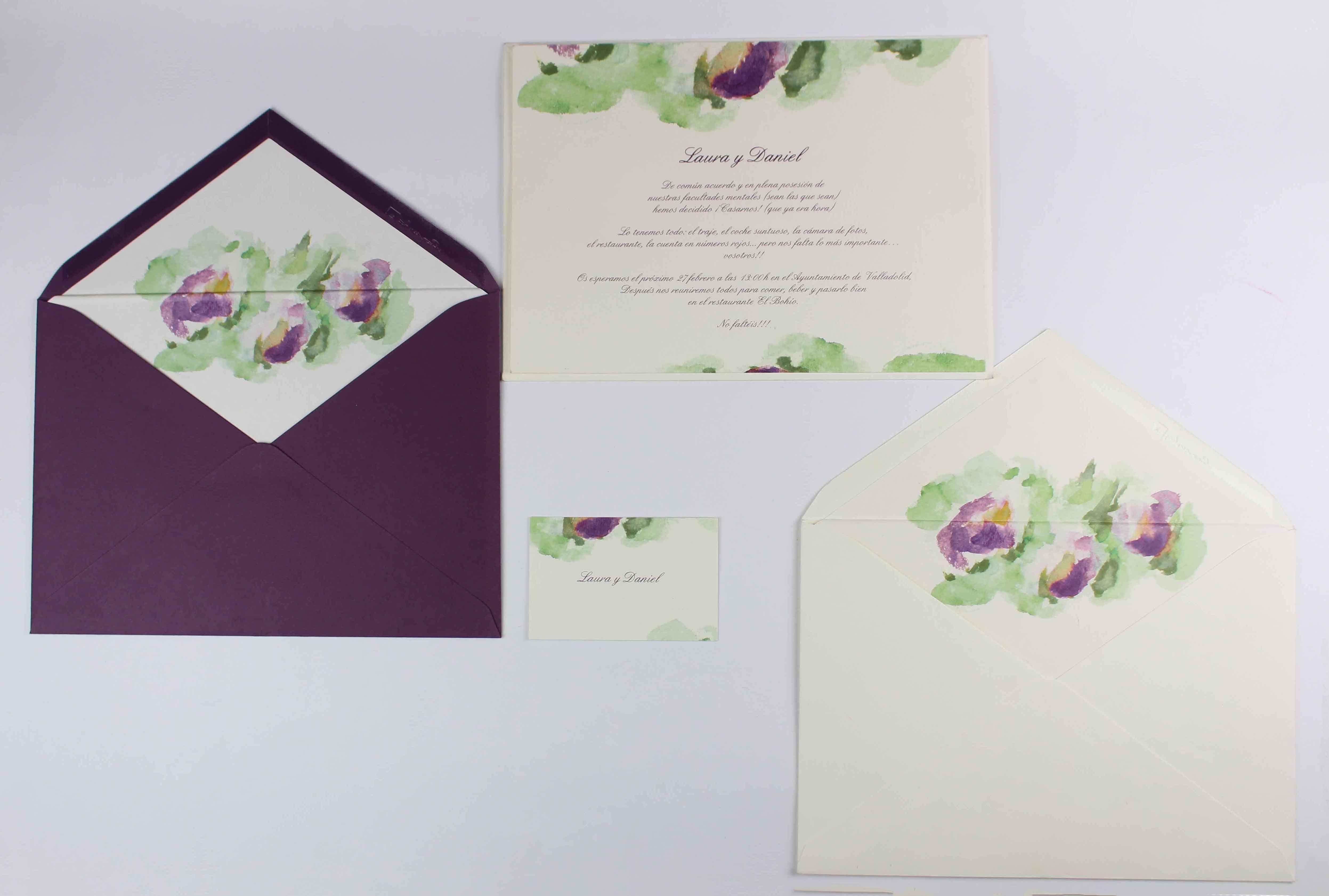 """Invitación de boda """"Acuarela verde y berenjena"""""""