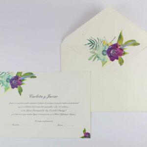 """Invitación de boda """"Flores morada y turquesa"""""""