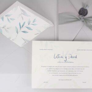 """Invitación de boda """"hojas verde y malva"""""""
