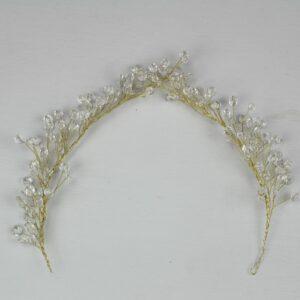 tiara dorada de cristales